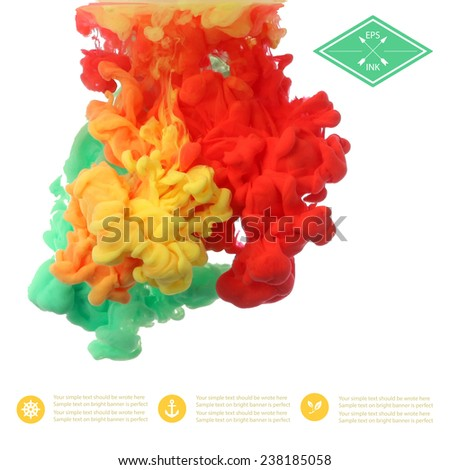 Template design with vector isolated cloud of  green red yellow ink on white. Splashes of paint. Texture of ink, paint in water - stock vector