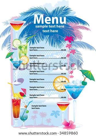 Template designs of cocktail menu - stock vector