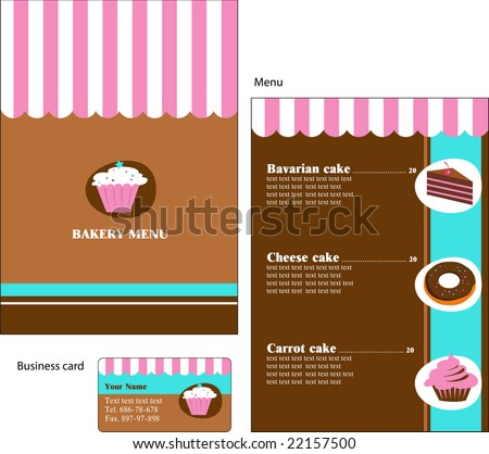 Template designs menu business card cafe stock vector 22157500 template designs of menu and business card for cafe coffee shop bakery and restaurant reheart Image collections