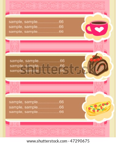 Template designs of menu coffee shop, pizza and restaurant - stock vector
