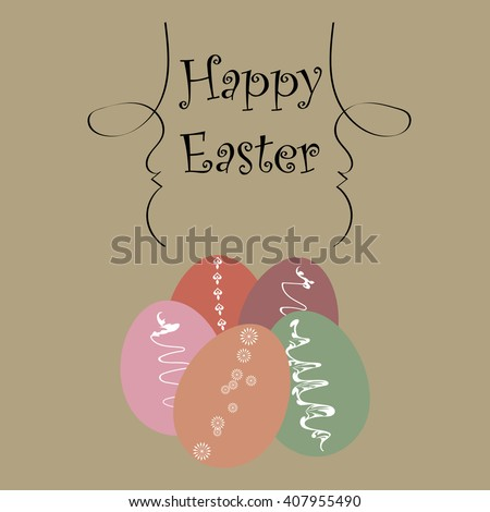 Template Easter greeting card, vector illustration - stock vector