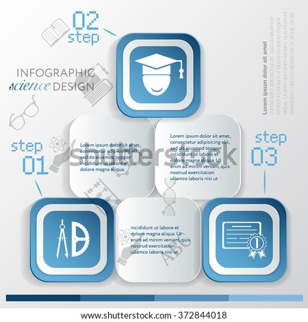 Template education infographic or website layout. infographic elements with icon and steps - stock vector