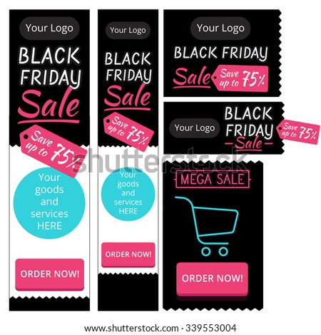 template elements for creating web banners Black Friday sales, high banners and long - stock vector