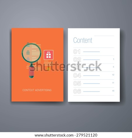 Template. Flyer, Brochure Design set. Set of modern flat design icons for search engine or context advertising. Magnifying glass over the list of searches and context ad with word and image.  - stock vector