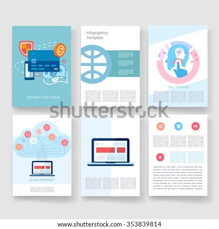 Template. Flyer, Brochure Design set.Vector brochure design templates collection. Applications and Infographic Concept. Modern flat design icons for mobile or smartphone on a light background.  - stock vector