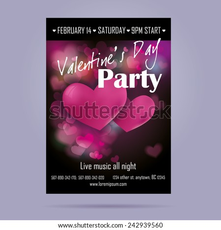 Template flyer for Valentine's Day with hearts on a bright background. - stock vector