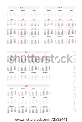 Template foe calendar 2012-2013 - stock vector