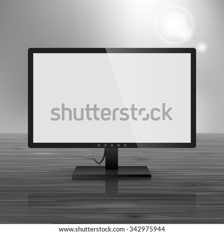 Template for advertising and corporate identity. Computer monitor. Blank mockup for design. Vector white object