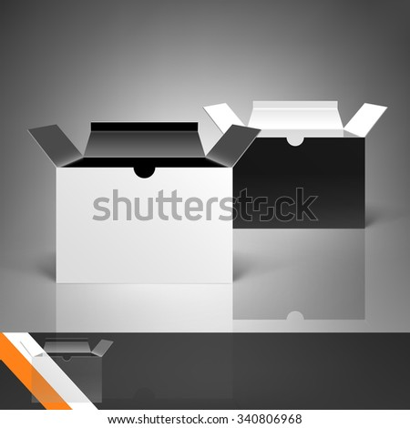 Template for advertising and corporate identity. Package. Cardboard box with flap cover. Blank mockup for design. Vector white object - stock vector
