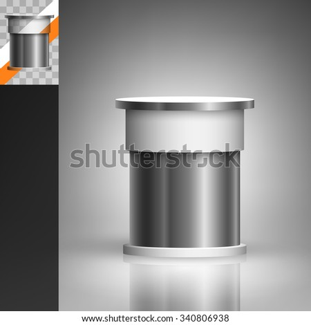 Template for advertising and corporate identity. Round trade stand. Blank mockup for design. Vector white object