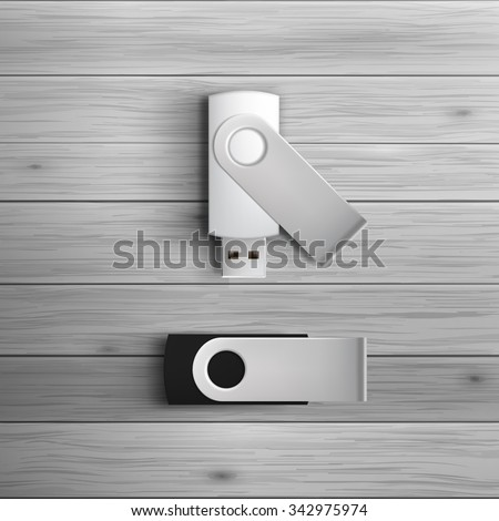 Template for advertising and corporate identity. USB flash drives. Blank mockup for design. Vector white object - stock vector