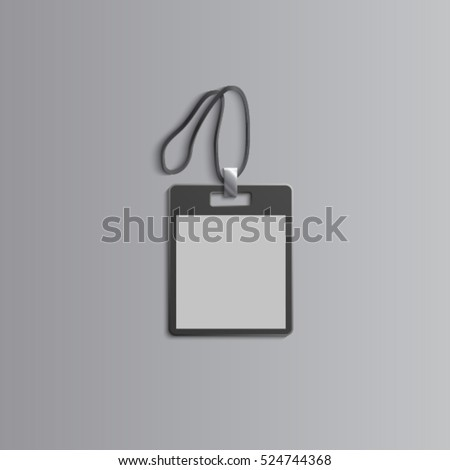 Template for advertising, branding and corporate identity.Plastic id badge with lanyard. Branding  mockup for design. Vector black and white object. EPS 10