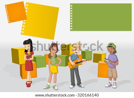 Template for advertising brochure with a group of cartoon young people. Teenagers.  - stock vector