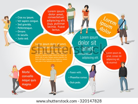 Template for advertising brochure with a group of fashion cartoon young people. Teenagers.  - stock vector