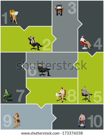 Template for advertising brochure with business people connected - stock vector