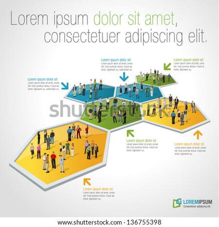 Template for advertising brochure with business people connected over bee hive blocks - stock vector