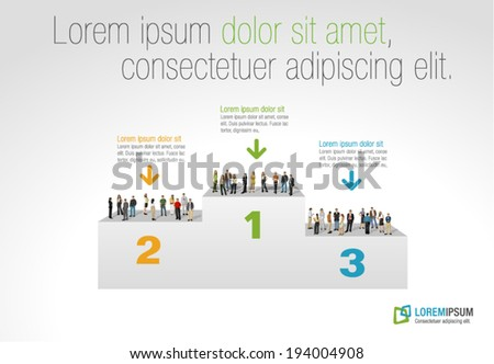 Template for advertising brochure with business people on podium - stock vector
