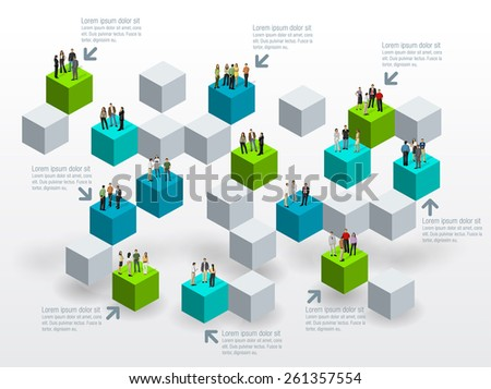 Template for advertising brochure with business people over blocks  - stock vector