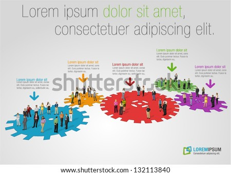 Template for advertising brochure with business people over colorful machine gear wheel. Cogwheel. - stock vector