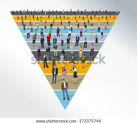 Template for advertising brochure with business people over funnel shape - stock vector