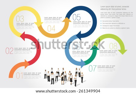 Template for advertising brochure with business people with arrows - stock vector