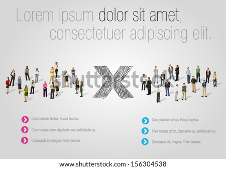 Template for advertising brochure with business people. Women against men. - stock vector
