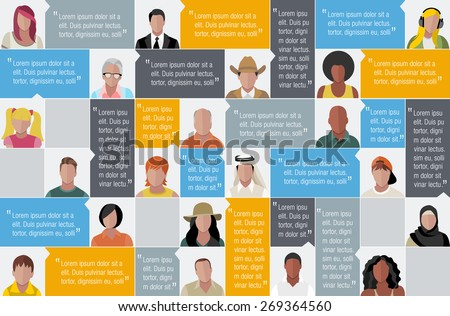 Template for advertising brochure with large group of cartoon people faces - stock vector
