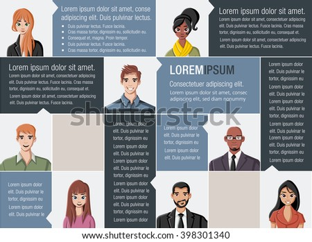 Template for advertising brochure with large group of people faces  - stock vector