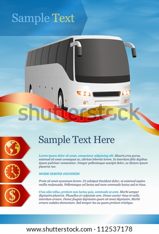Template for advertising. Tourist bus - stock vector