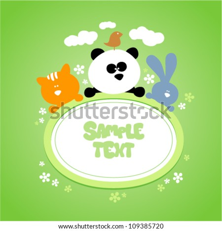 Template for baby's photo album, scrapbook or postcard. - stock vector