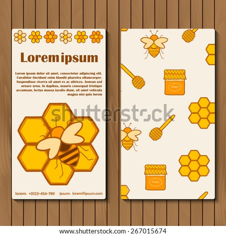 Template for booklet, card or flyer on beekeeping theme with hand drawn objects for your design - stock vector