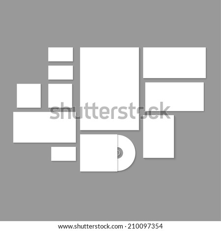 Template for branding and identity. Promoting and presentations corporate id design and visualization. Consists of the elements: paper, a4 letterheads, business card, cd, envelope on gray background.  - stock vector
