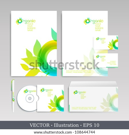 Template for Business artworks.  Bio style. Vector Illustration. - stock vector