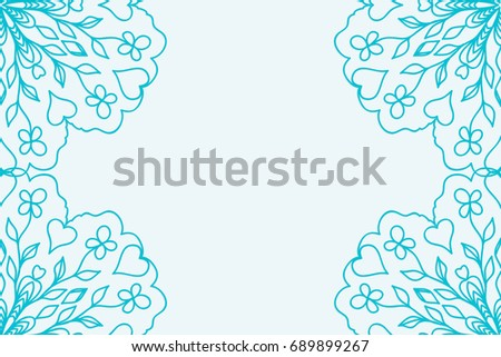template for Business Card. Decorative elements. Ornamental floral mandala pattern. vector illustration. Arabic, Indian, Turkish, Ottoman motifs. blue color