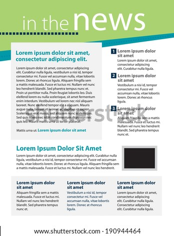 Template for business or non-profit organization newsletter