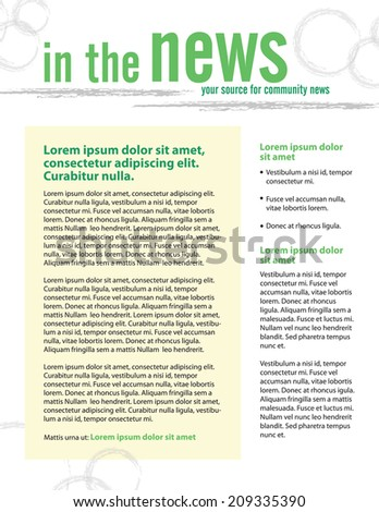 Template for business or non-profit organization newsletter  - stock vector
