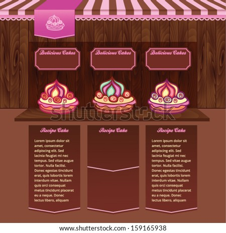 Template for Cake Recipes Web site - stock vector