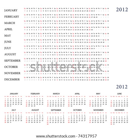 Template for calendar 2012 - stock vector