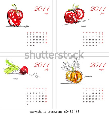 Template for calendar 2011. Vegetable Part 2 - stock vector