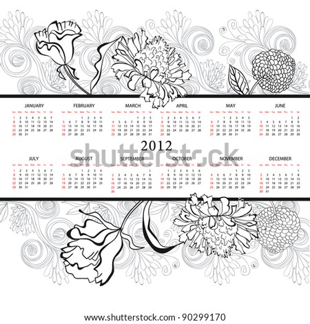 Template for calendar 2012 with flowers - stock vector