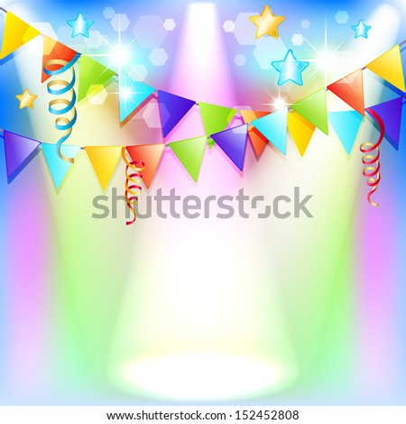 Template for congratulations on his birthday. Bright background with flags, serpentine and sequins - stock vector