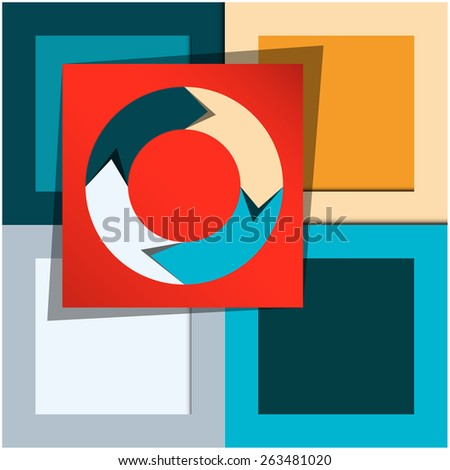 Template for creating infographics, consisting of colored rectangles, grouped together - stock vector