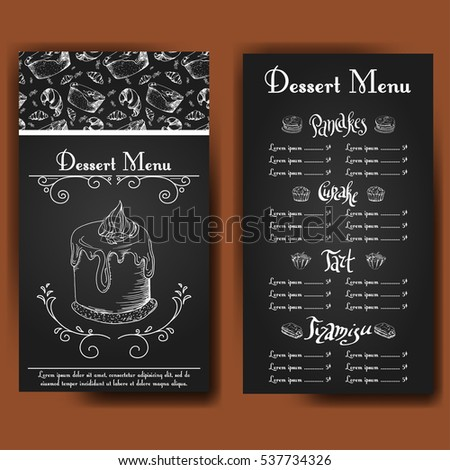 template dessert menu sweet tasty cakes stock vector royalty free
