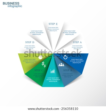 Template for diagram, graph, presentation and chart. Business concept with 10 options, parts, steps or processes. - stock vector