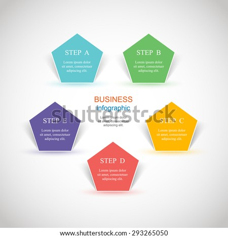 Template for diagram, graph, presentation and chart. Business concept with 5 options, parts, steps or processes.  - stock vector
