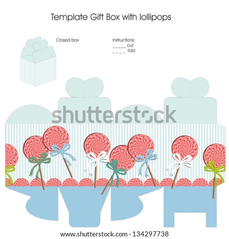 Template for gift box with lollipops for baby boy showers favors - stock vector