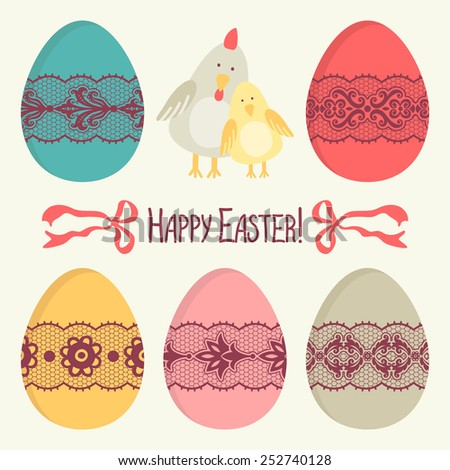 Template for greeting card or invitation. Happy Easter! - stock vector
