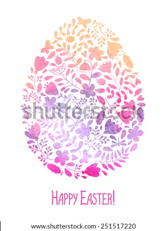 Template for greeting card or invitation. Happy Easter! Watercolor. - stock vector