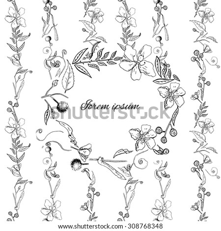 Template for greeting card or invitation with flowers, leaves and berries, monochrome