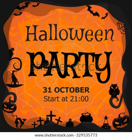 Template halloween party invitation flyer banner stock vector template for halloween party invitation flyer banner vector illustration stopboris Image collections